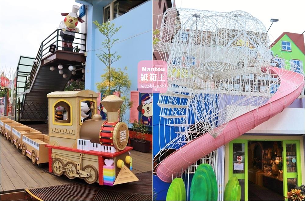 南投清境景點》紙箱王音樂城堡,免費玩兩層樓旋轉溜滑梯,紙箱火車載你去童話王國~